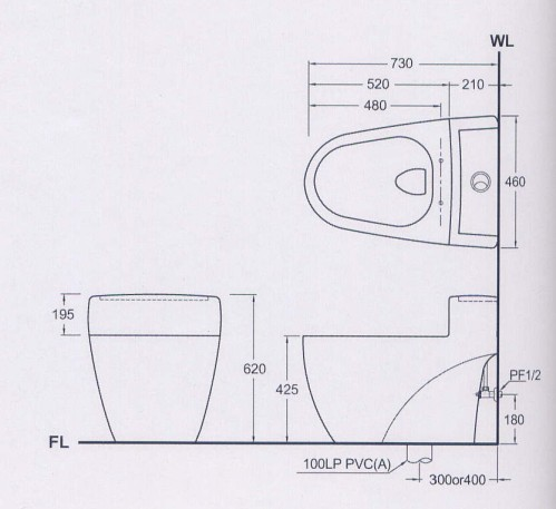 单体马桶+e-2356电脑马桶盖